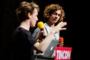 Jonathan Funke und Jannis Redmann von der Jugendcharta Digitale Grundrechte sprechen am 19.05.2017 auf dem Festival für digitale Jugendkultur - TINCON - auf Kampnagel in Hamburg. Foto: Gregor Fischer/TINCON